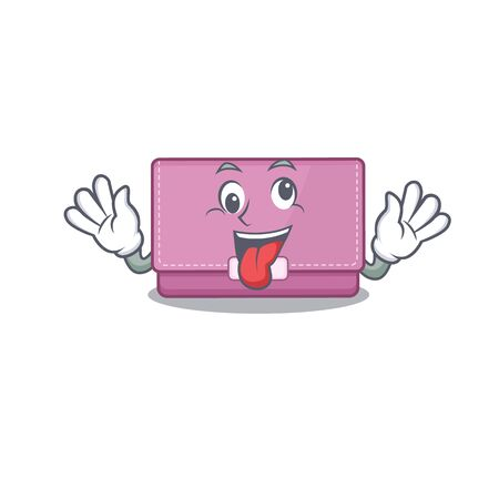 A mascot design of womens wallet having a funny crazy face