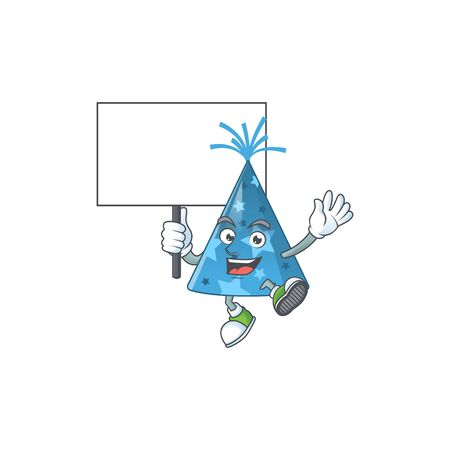 Cute blue party hat mascot design smiley with rise up a board. Vector illustration
