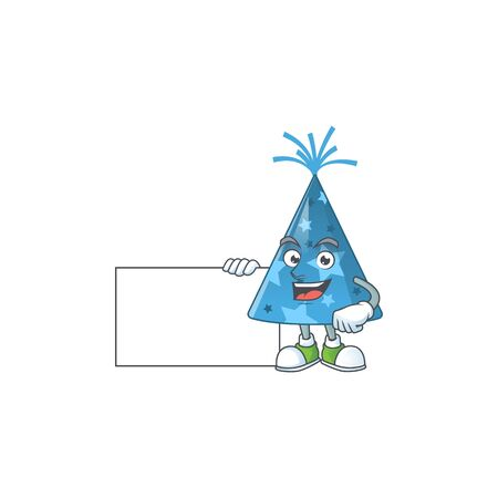 Blue party hat cartoon drawing Thumbs up holding a white board. Vector illustration