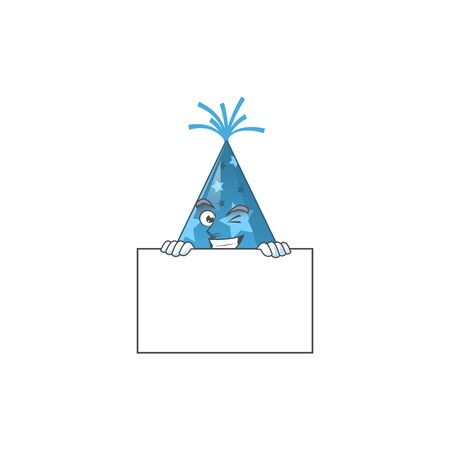 Mascot design style of blue party hat standing behind a board. Vector illustration