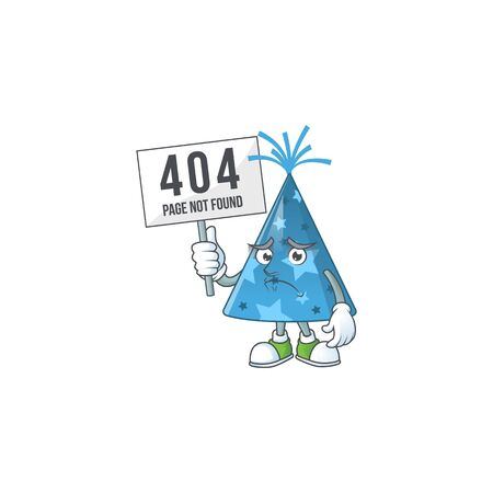 gloomy face of blue party hat cartoon character with 404 boards. Vector illustration