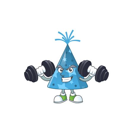 Caricature picture of blue party hat exercising with barbells on gym. Vector illustration Ilustrace