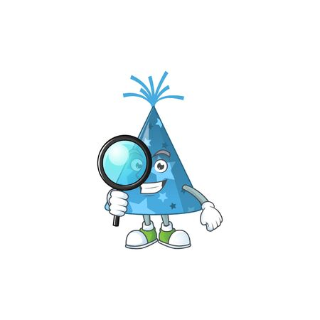 cartoon drawing concept of blue party hat working as a Private Detective. Vector illustration Stok Fotoğraf - 147854543