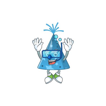 cartoon drawing concept of blue party hat wearing cool Diving glasses ready to swim. Vector illustration
