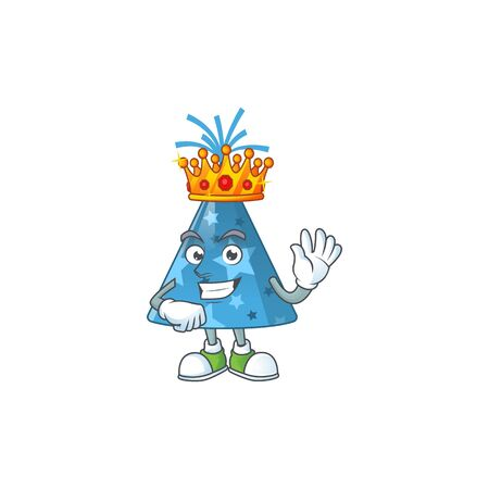 A charming King of blue party hat cartoon character design with gold crown. Vector illustration Ilustração