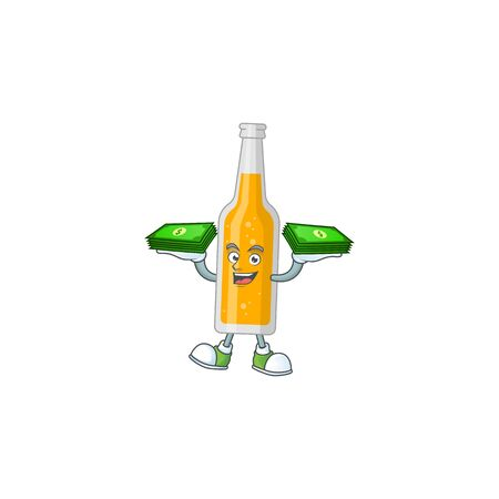 A cheerful bottle of beer cartoon mascot design having some money on hands. Vector illustration