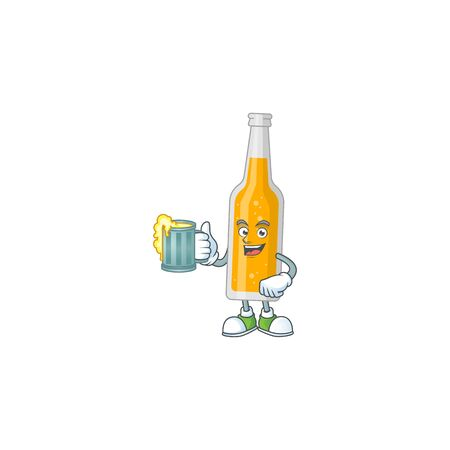 A cheerful bottle of beer cartoon mascot style toast with a glass of beer. Vector illustration