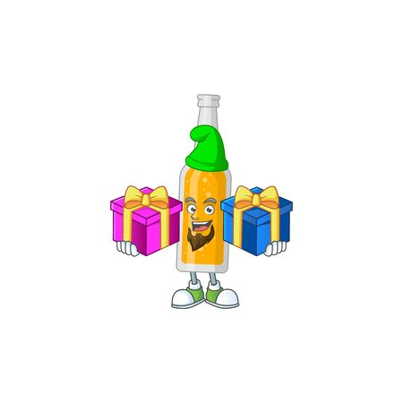 A joyful bottle of beer mascot design style with Christmas gifts. Vector illustration