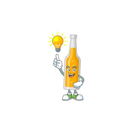 A brilliance bottle of beer cartoon design concept have an idea. Vector illustration  イラスト・ベクター素材