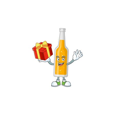 Bottle of beer cartoon mascot concept design with a red box of gift