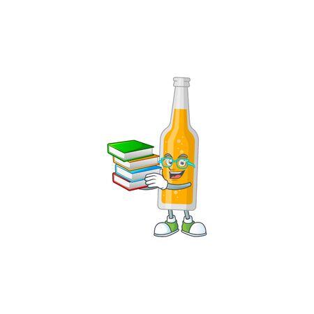 A mascot design of bottle of beer student having books. Vector illustration
