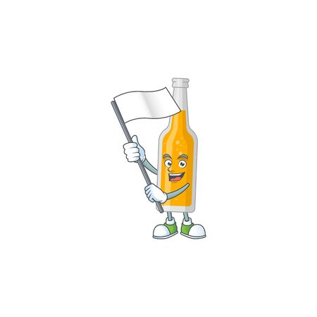 Cute caricature character of bottle of beer with a white flag. Vector illustration  イラスト・ベクター素材