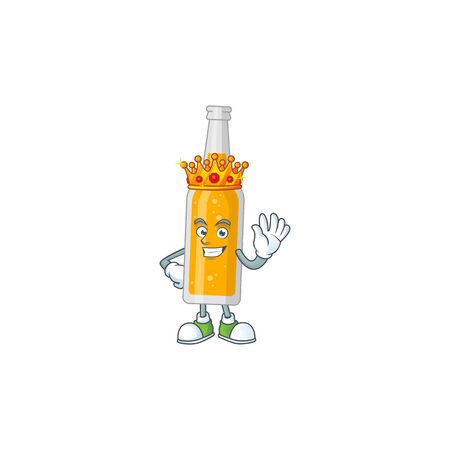 A charming King of bottle of beer cartoon character design with gold crown. Vector illustration