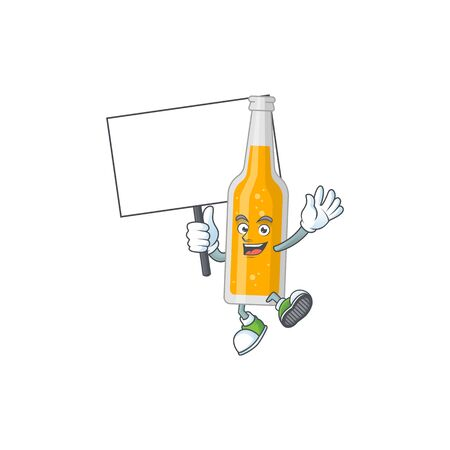 Cute bottle of beer mascot design smiley with rise up a board