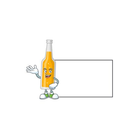 A caricature drawing of bottle of beer with board