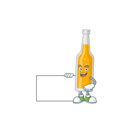 Bottle of beer cartoon drawing Thumbs up holding a white board