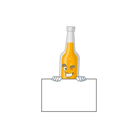 Mascot design style of bottle of beer standing behind a board