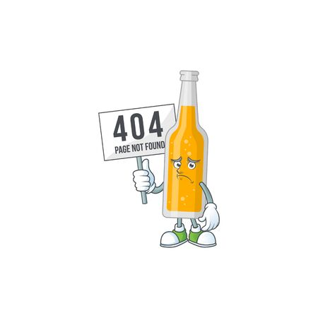 gloomy face of bottle of beer cartoon character with 404 boards 矢量图像