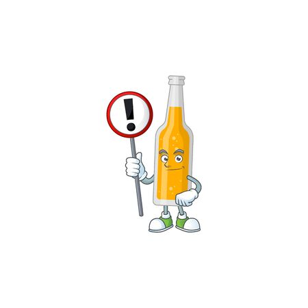 Caricature picture of bottle of beer holding a sign Vector Illustration