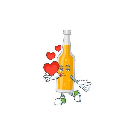 A gorgeous caricature design of bottle of beer with red hearts. Vector illustration