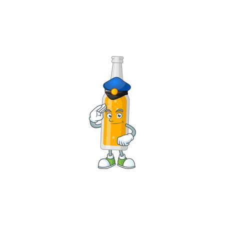 A dedicated Police officer of bottle of beer cartoon drawing concept Ilustrace