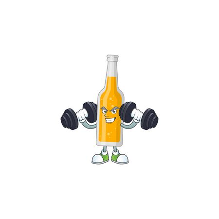 Caricature picture of bottle of beer exercising with barbells on gym