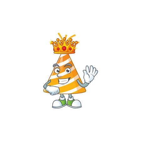 A charming King of yellow party hat cartoon character design with gold crown