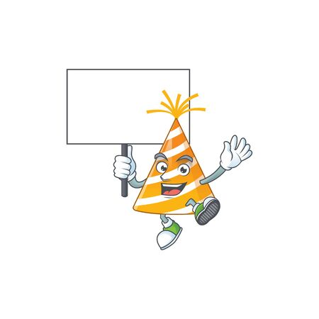 Cute yellow party hat mascot design smiley with rise up a board