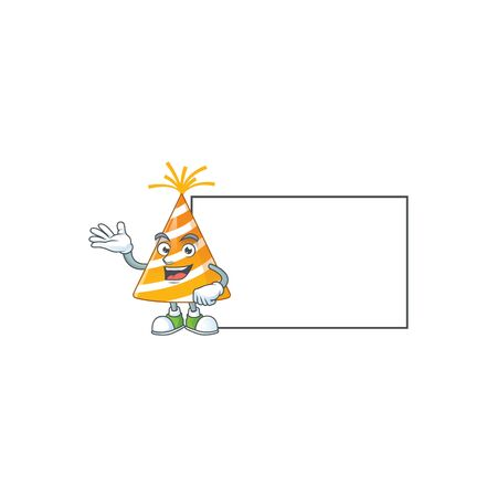 A caricature drawing of yellow party hat with board 矢量图像