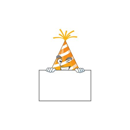 Mascot design style of yellow party hat standing behind a board 矢量图像