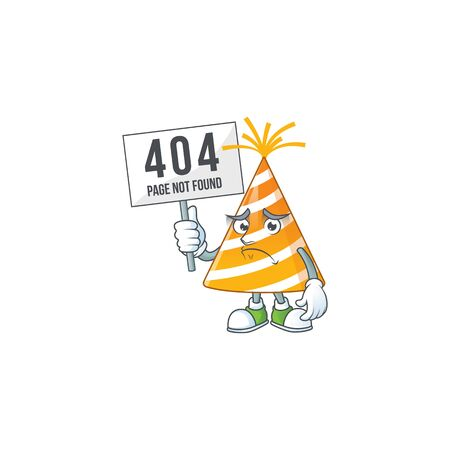 gloomy face of yellow party hat cartoon character with 404 boards