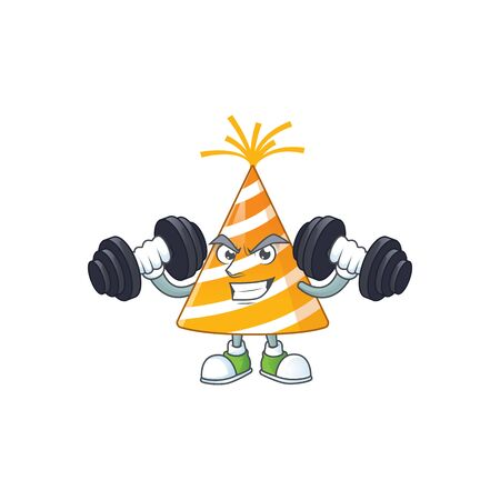 Caricature picture of yellow party hat exercising with barbells on gym