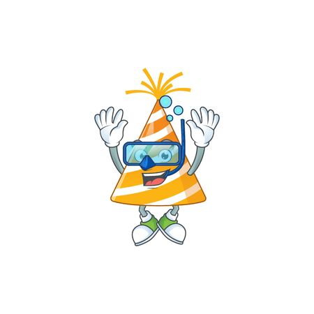 cartoon drawing concept of yellow party hat wearing cool Diving glasses ready to swim