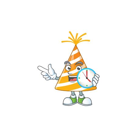 cartoon drawing concept of yellow party hat with a circle clock Vectores