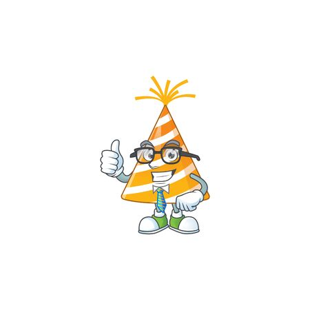 cartoon drawing concept of yellow party hat as a successful businessman