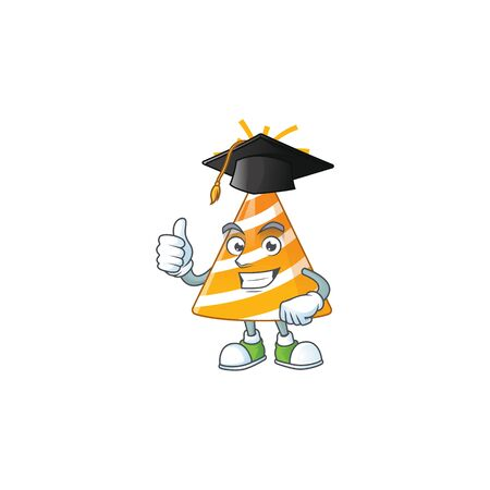 Happy face Mascot design concept of yellow party hat wearing a Graduation hat Vectores