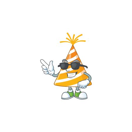 Super cool yellow party hat cartoon drawing style wearing black glasses