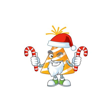 Cartoon character of yellow party hat as a Santa having candies
