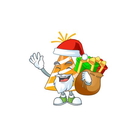 Santa yellow party hat Cartoon drawing design with sacks of gifts Ilustracja