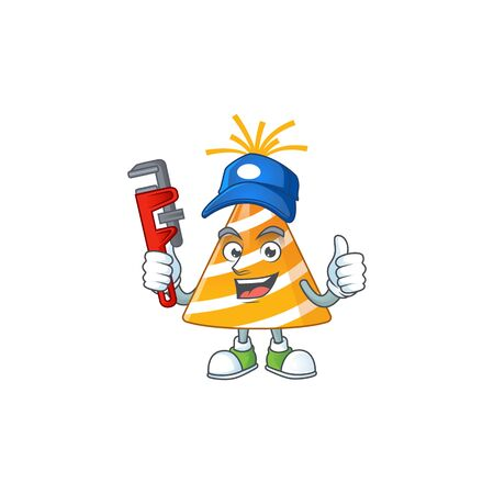 Yellow party hat Cartoon drawing concept work as smart Plumber 版權商用圖片 - 147885917
