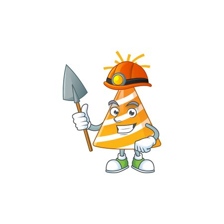 Yellow party hat as a miner cartoon character design