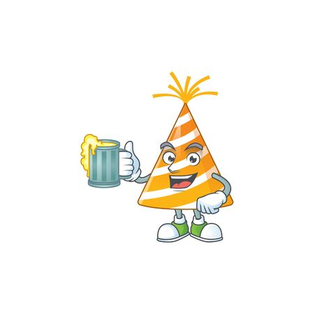 A cheerful yellow party hat cartoon mascot style toast with a glass of beer Vectores