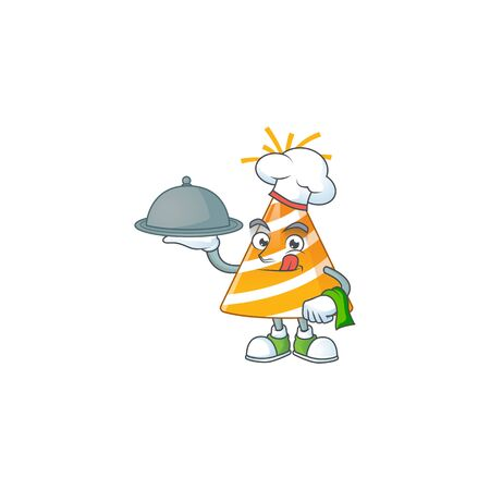 A yellow party hat chef cartoon mascot design with hat and tray