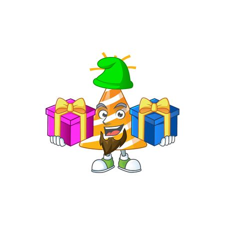 A joyful yellow party hat mascot design style with Christmas gifts
