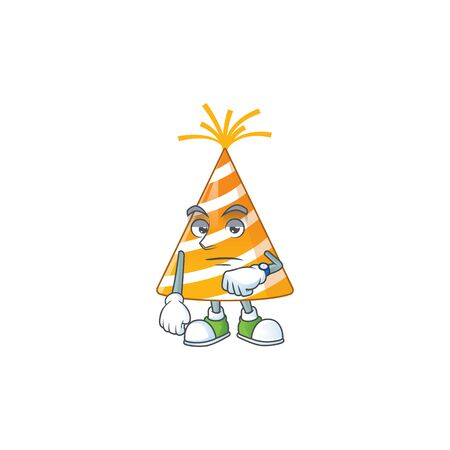 Yellow party hat showing waiting gesture cartoon design concept