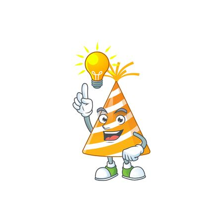 A brilliance yellow party hat cartoon design concept have an idea 版權商用圖片 - 147885941
