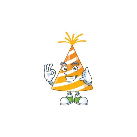cartoon picture of yellow party hat make a call gesture 向量圖像