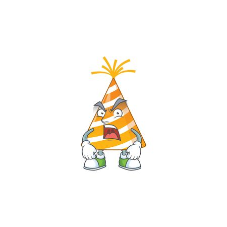 Yellow party hat cartoon drawing style with angry face
