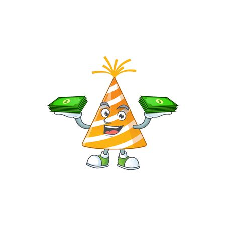 A cheerful yellow party hat cartoon mascot design having some money on hands Vectores