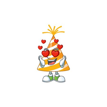 An adorable yellow party hat cartoon mascot style with a falling in love face Ilustracja